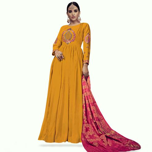 Hypnotic Mustard Yellow Colored Party Wear Embroidered Rayon Anarkali Suit