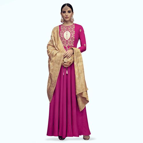 Excellent Magenta Pink Colored Party Wear Embroidered Rayon Anarkali Suit