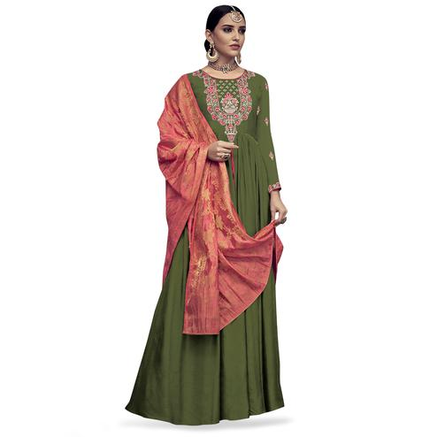 Preferable Mehendi Green Colored Party Wear Embroidered Rayon Anarkali Suit