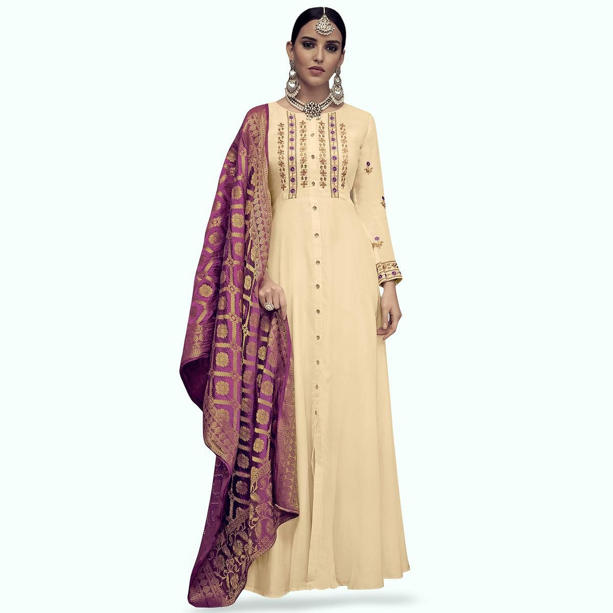 Marvellous Cream Colored Party Wear Embroidered Rayon Anarkali Suit