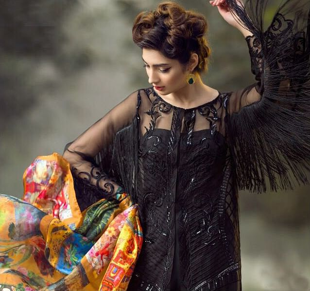 Sizzling Black Designer Embroidered Net Pakistani Style Suit