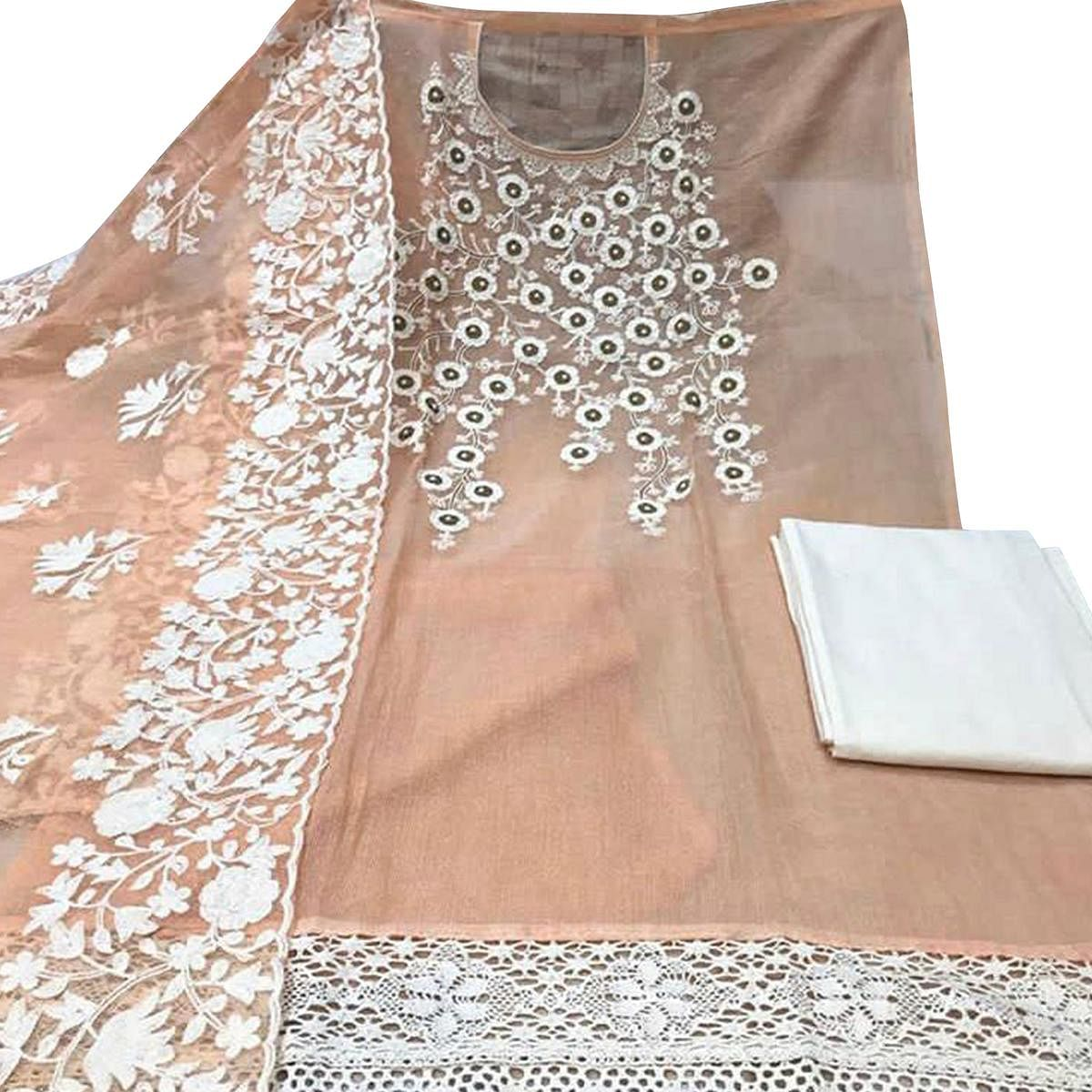 Pretty Peach Colored Party Wear Embroidered Chanderi Silk Dress Material
