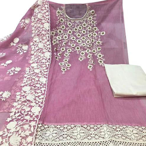 Alluring Pink Colored Party Wear Embroidered Chanderi Silk Dress Material
