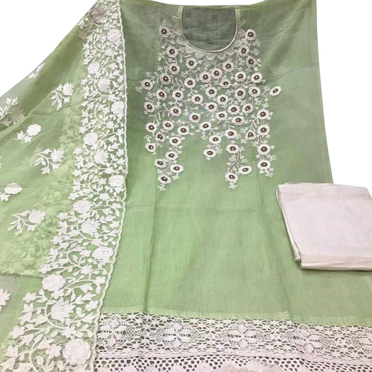 Sensational Mint Green Colored Party Wear Embroidered Chanderi Silk Dress Material