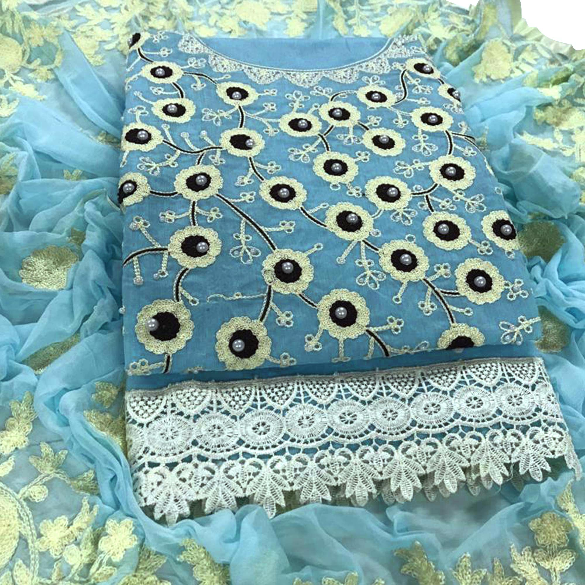 Flaunt Pastel Blue Colored Party Wear Embroidered Chanderi Silk Dress Material