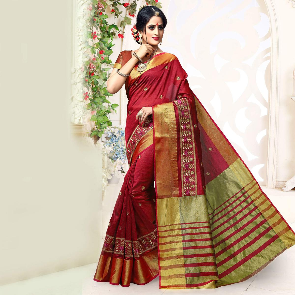 Maroon Embroidered Work Cotton Saree