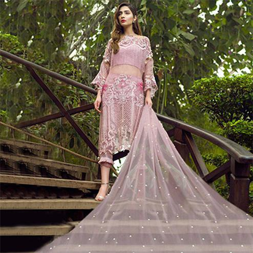 Gorgeous Pink Designer Embroidered Net Pakistani Style Suit