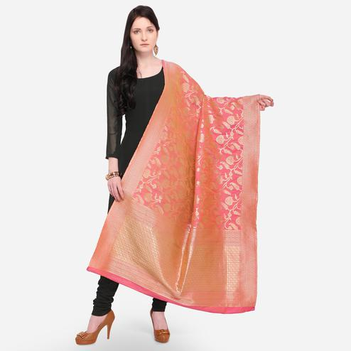 Captivating Peach Colored Festive Wear Jacquard Banarasi Silk Dupatta