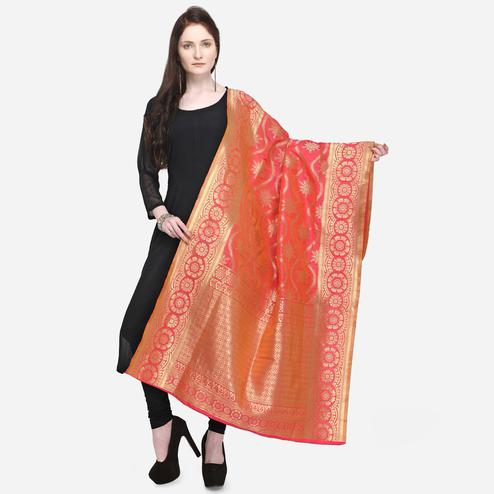 Lovely Pink Colored Festive Wear Jacquard Banarasi Silk Dupatta