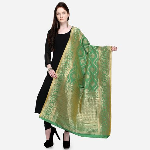 Majesty Green Colored Festive Wear Jacquard Banarasi Silk Dupatta