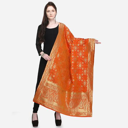 Impressive Orange Colored Festive Wear Jacquard Banarasi Silk Dupatta