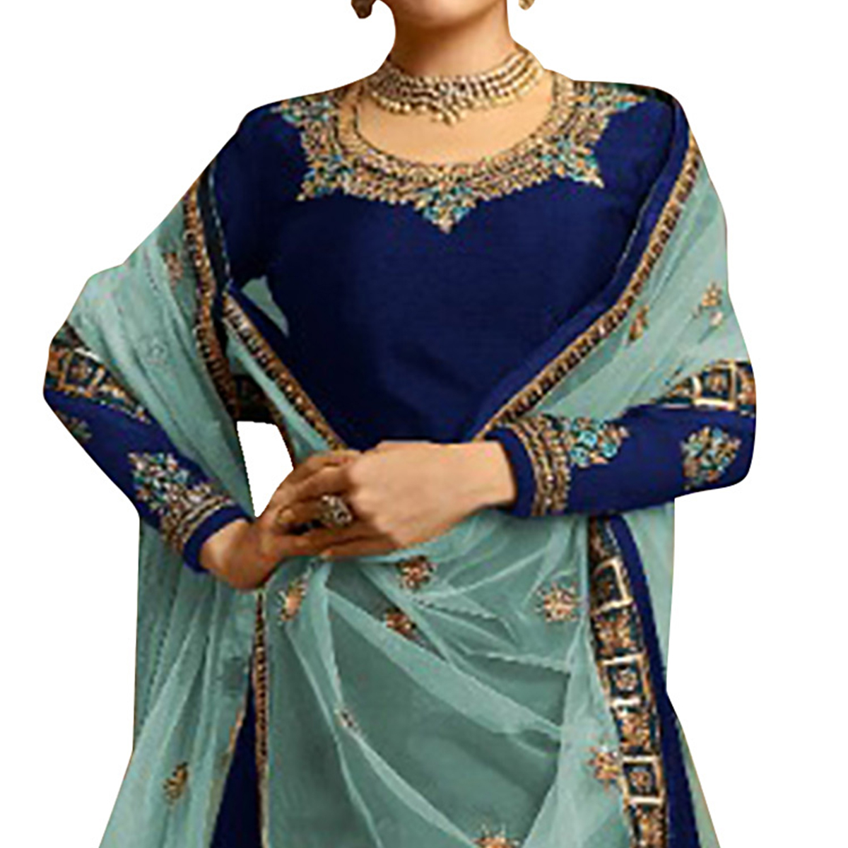 Adorning Navy Blue Colored Partywear Embroidered Satin Georgette Lehenga Kameez