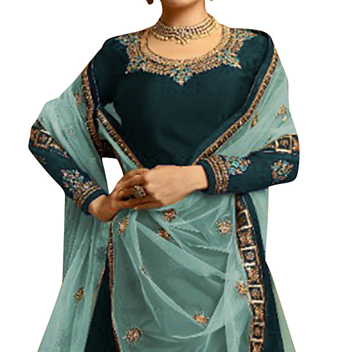 Adorning Rama Blue Colored Partywear Embroidered Satin Georgette Lehenga Kameez