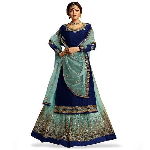 f6cad3539d Adorning Navy Blue Colored Partywear Embroidered Satin Georgette Lehenga  Kameez
