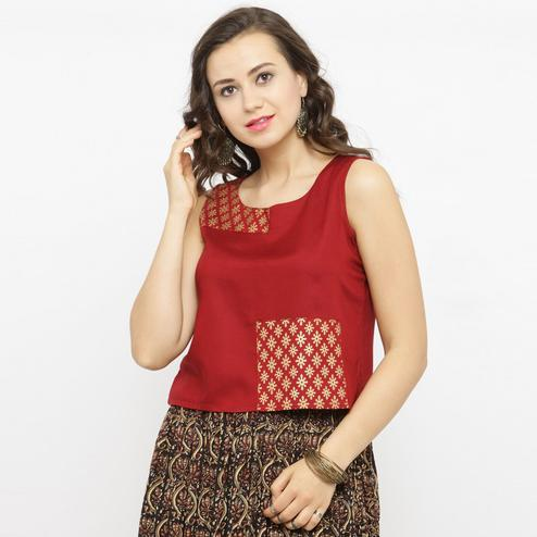 Pleasant Red Colored Casual Printed Rayon Top