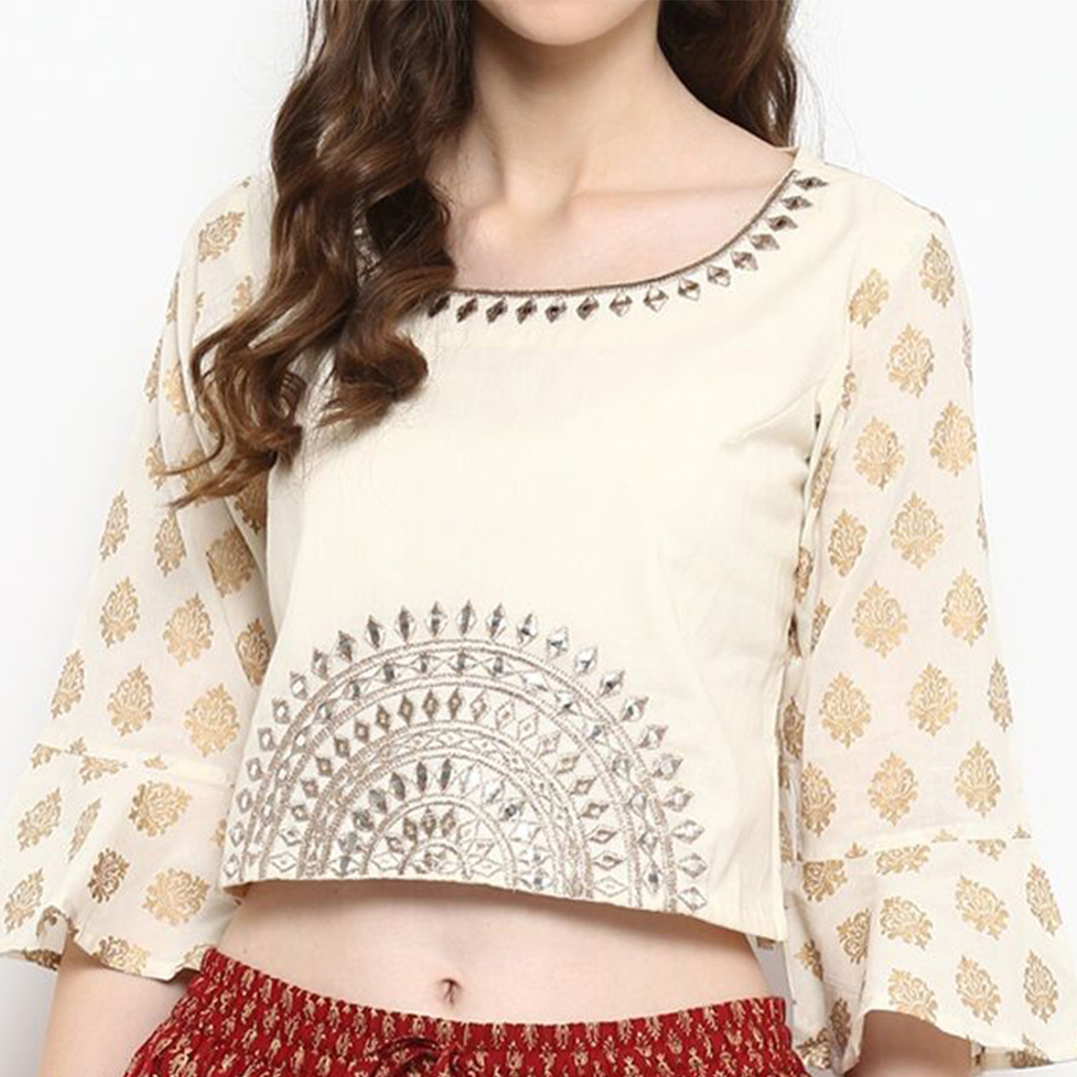 Flattering White Colored Casual Printed Cotton Top