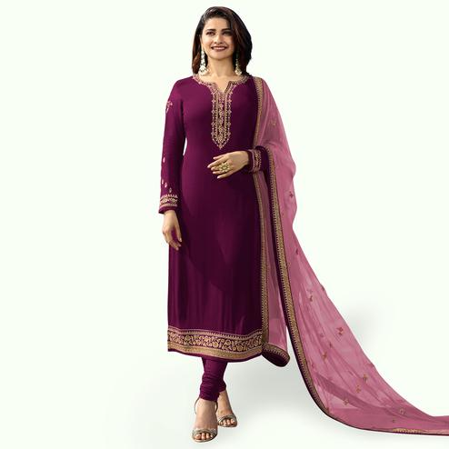 Opulent Purple Colored Party Wear Embroidered Georgette Salwar Suit