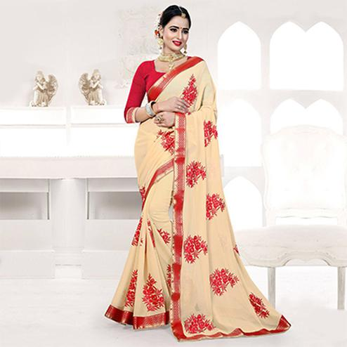 Chiku Embroidered Partywear Georgette Saree