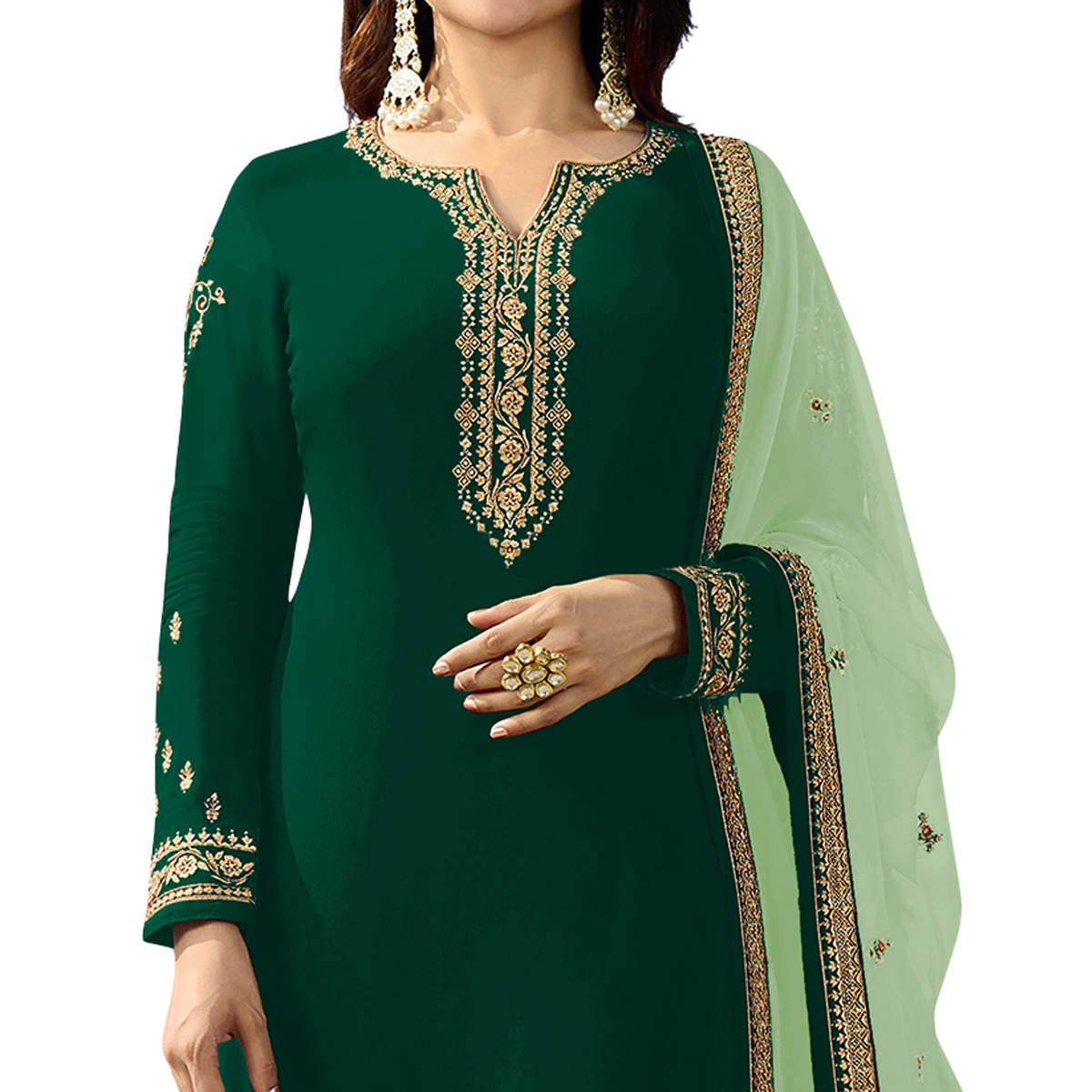 Energetic Green Colored Party Wear Embroidered Georgette Salwar Suit