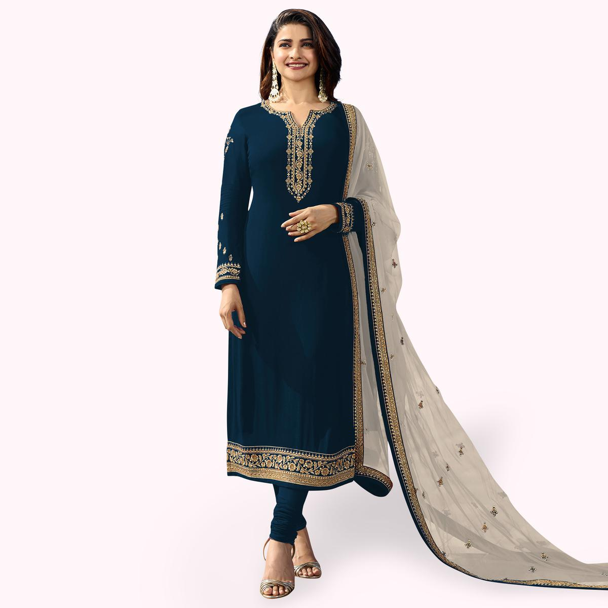 Glowing Navy Blue Colored Party Wear Embroidered Georgette Salwar Suit