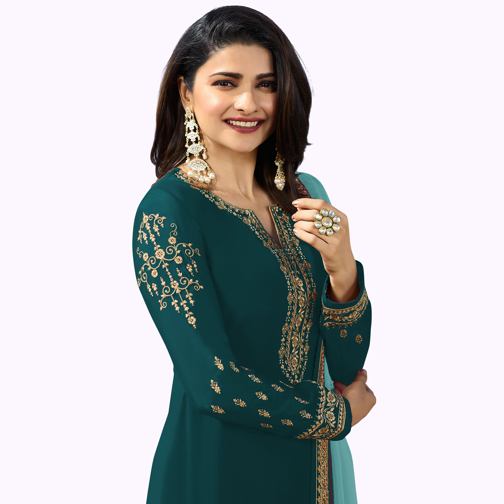 Exceptional Rama Green Colored Party Wear Embroidered Georgette Salwar Suit