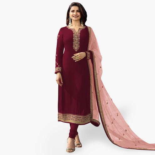 Gleaming Maroon Colored Party Wear Embroidered Georgette Salwar Suit
