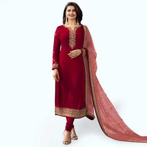 Mesmeric Red Colored Party Wear Embroidered Georgette Salwar Suit