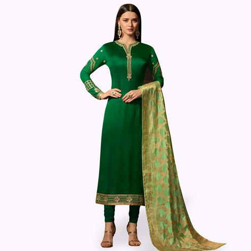 Prominent Green Colored Party Wear Embroidered Georgette Salwar Suit With Banarasi Dupatta