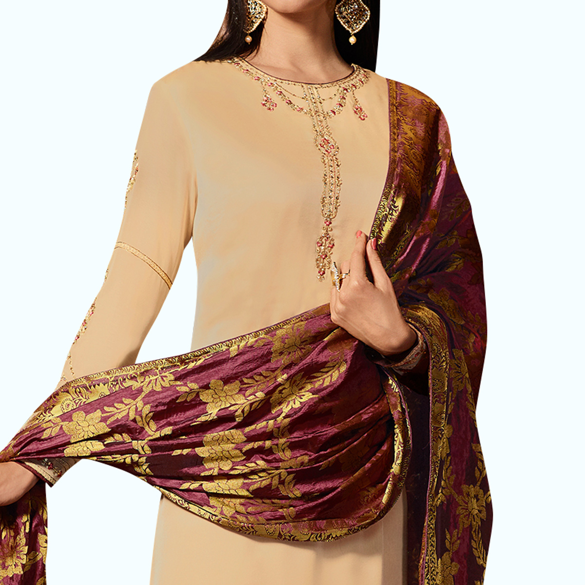 Appealing Cream Colored Party Wear Embroidered Georgette Salwar Suit With Banarasi Dupatta