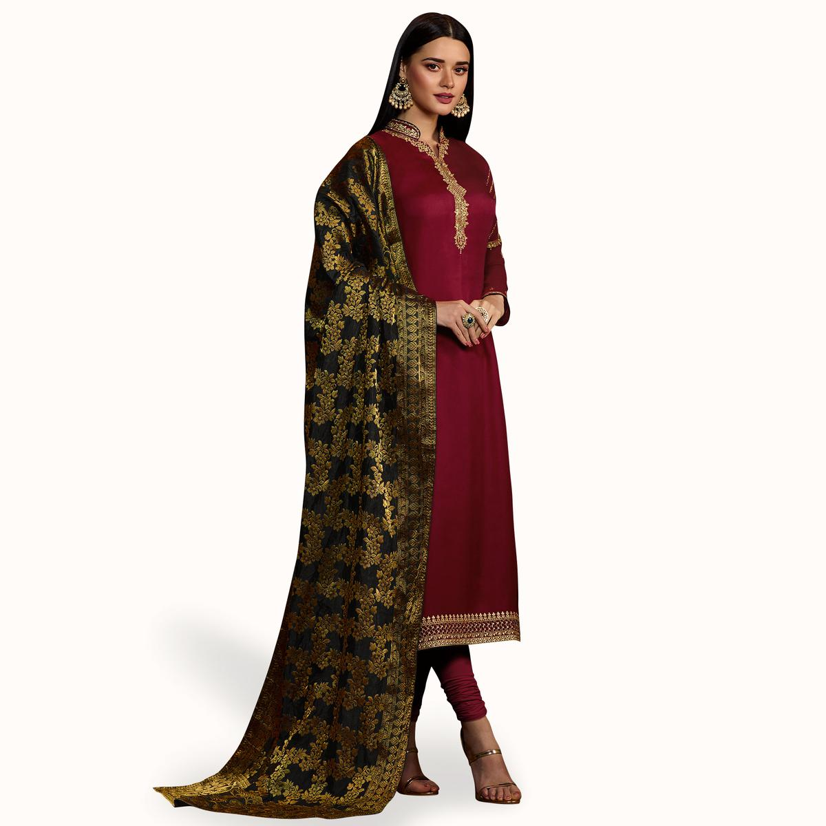 13c86c35b99 Buy Entrancing Maroon Colored Party Wear Embroidered Georgette Salwar Suit  for womens online India