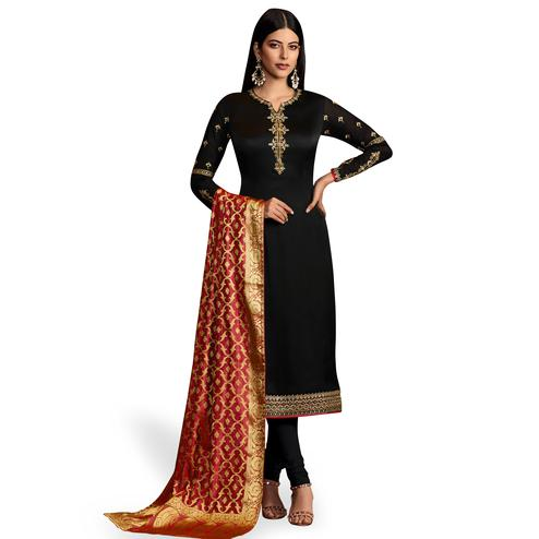 Delightful Black Colored Party Wear Embroidered Georgette Salwar Suit With Banarasi Dupatta