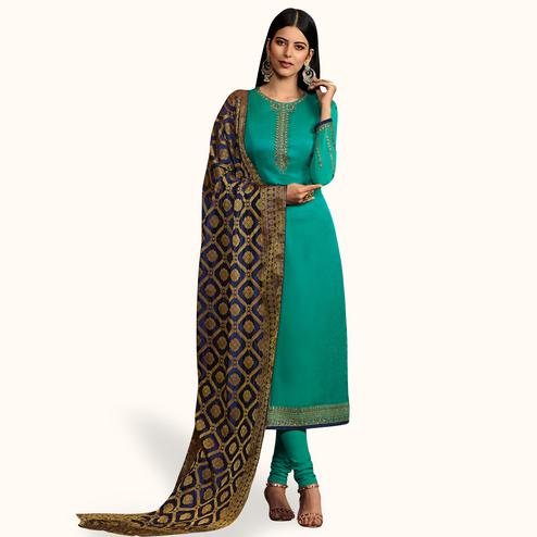 Exotic Turquoise Green Colored Party Wear Embroidered Georgette Salwar Suit With Banarasi Dupatta