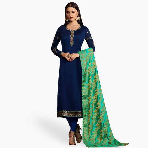 Innovative Navy Blue Colored Party Wear Embroidered Georgette Salwar Suit With Banarasi Dupatta
