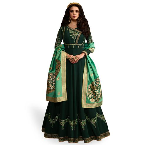Blooming Bottle Green Colored Partywear Embroidered Georgette Anarkali Suit