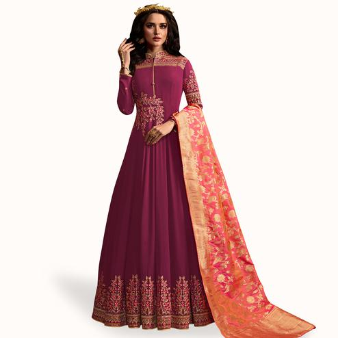 Charming Wine Colored Partywear Embroidered Georgette Anarkali Suit
