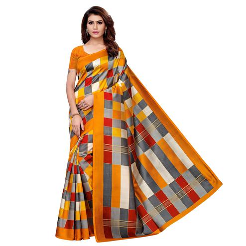 Graceful Yellow - Multi Colored Casual Wear Printed Art Silk Saree