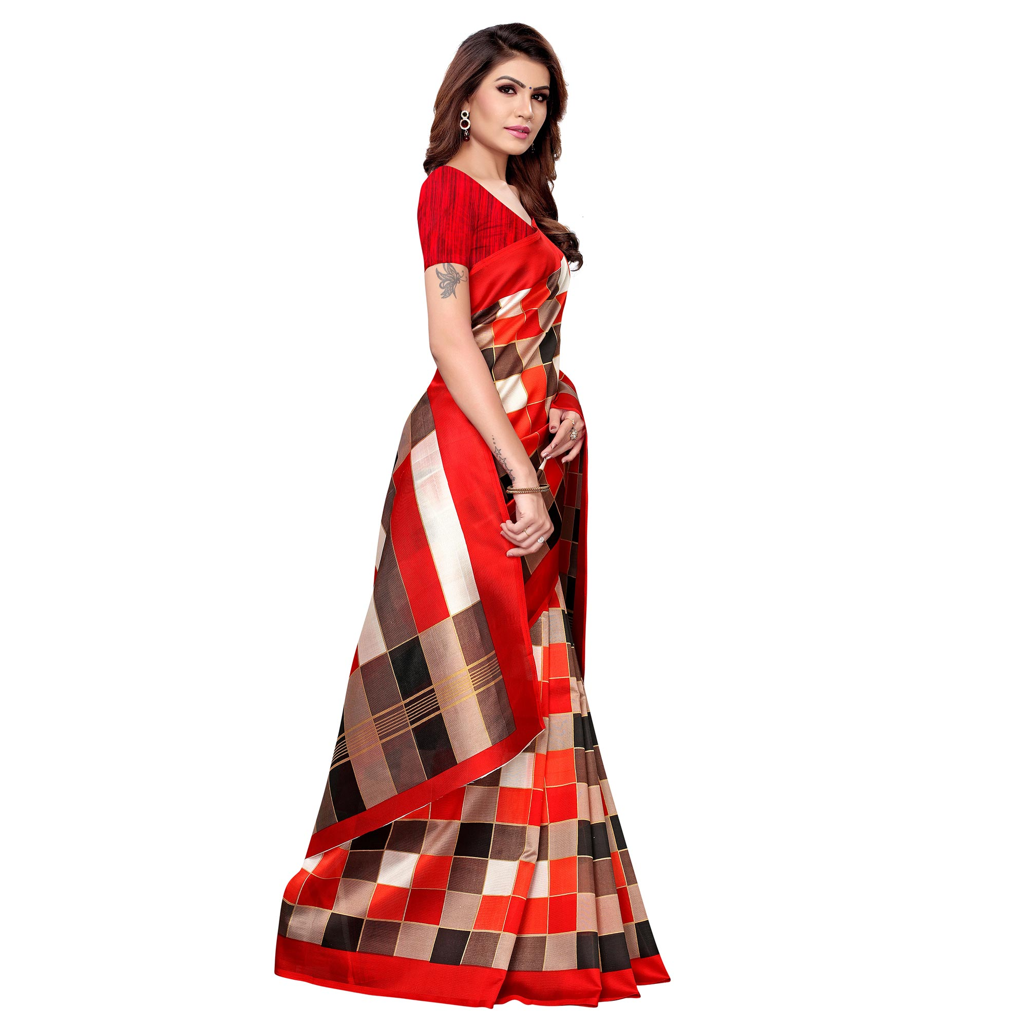 Blooming Red - Multi Colored Casual Wear Printed Art Silk Saree