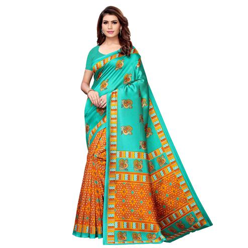 Charming Aqua Green - Yellow Colored Casual Wear Printed Art Silk Saree