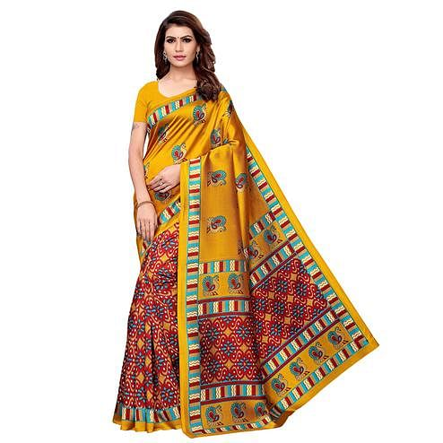 Jazzy Mustard Yellow - Red Colored Casual Wear Printed Art Silk Saree