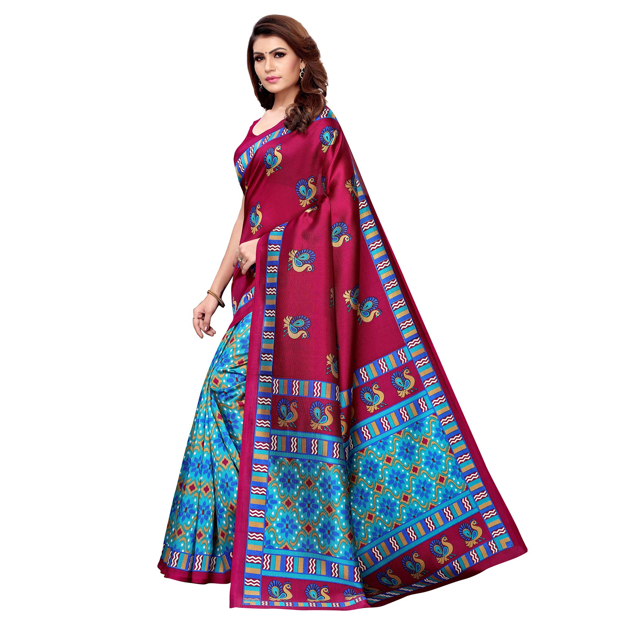 Delightful Magenta Pink - Sky Blue Colored Casual Wear Printed Art Silk Saree