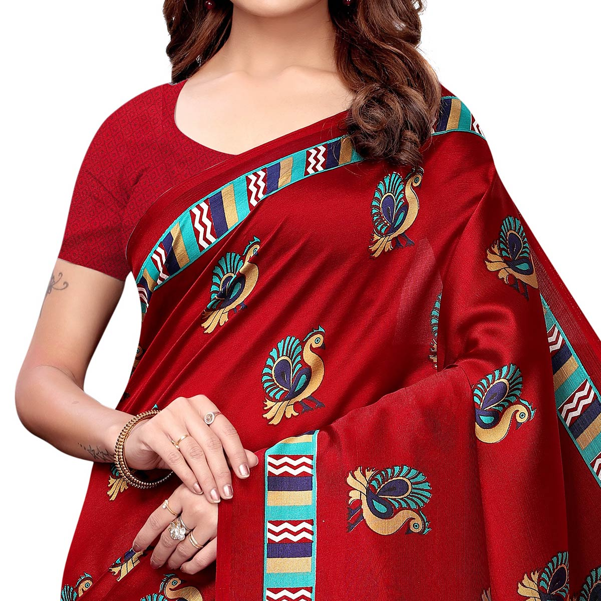 Engrossing Red - Blue Colored Casual Wear Printed Art Silk Saree