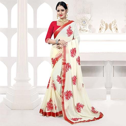 White Embroidered Partywear Georgette Saree