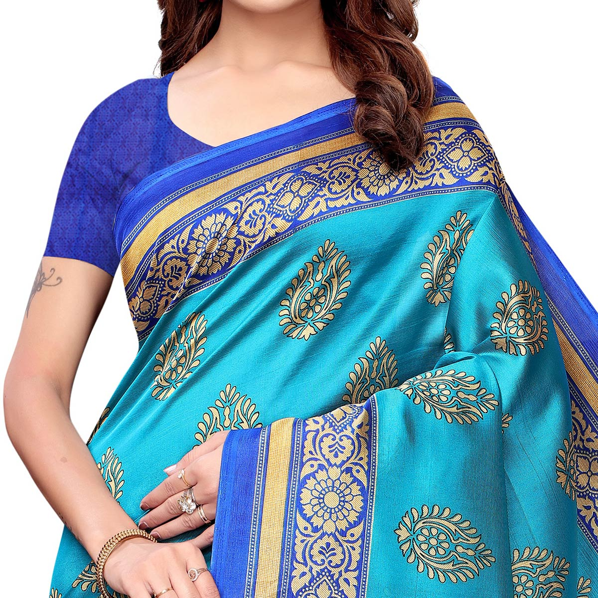 Captivating Sky Blue - Red Colored Casual Wear Printed Art Silk Saree