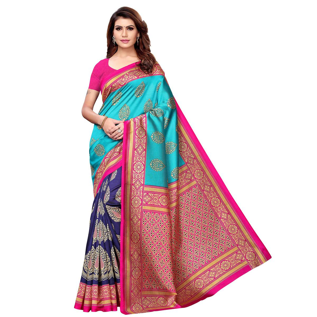 Innovative Blue Colored Casual Wear Printed Art Silk Saree
