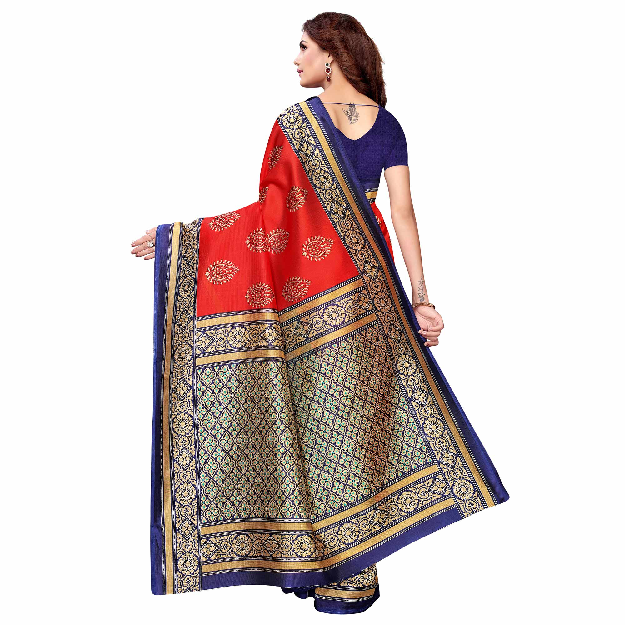Eye-catching Red - Aqua Blue Colored Casual Wear Printed Art Silk Saree