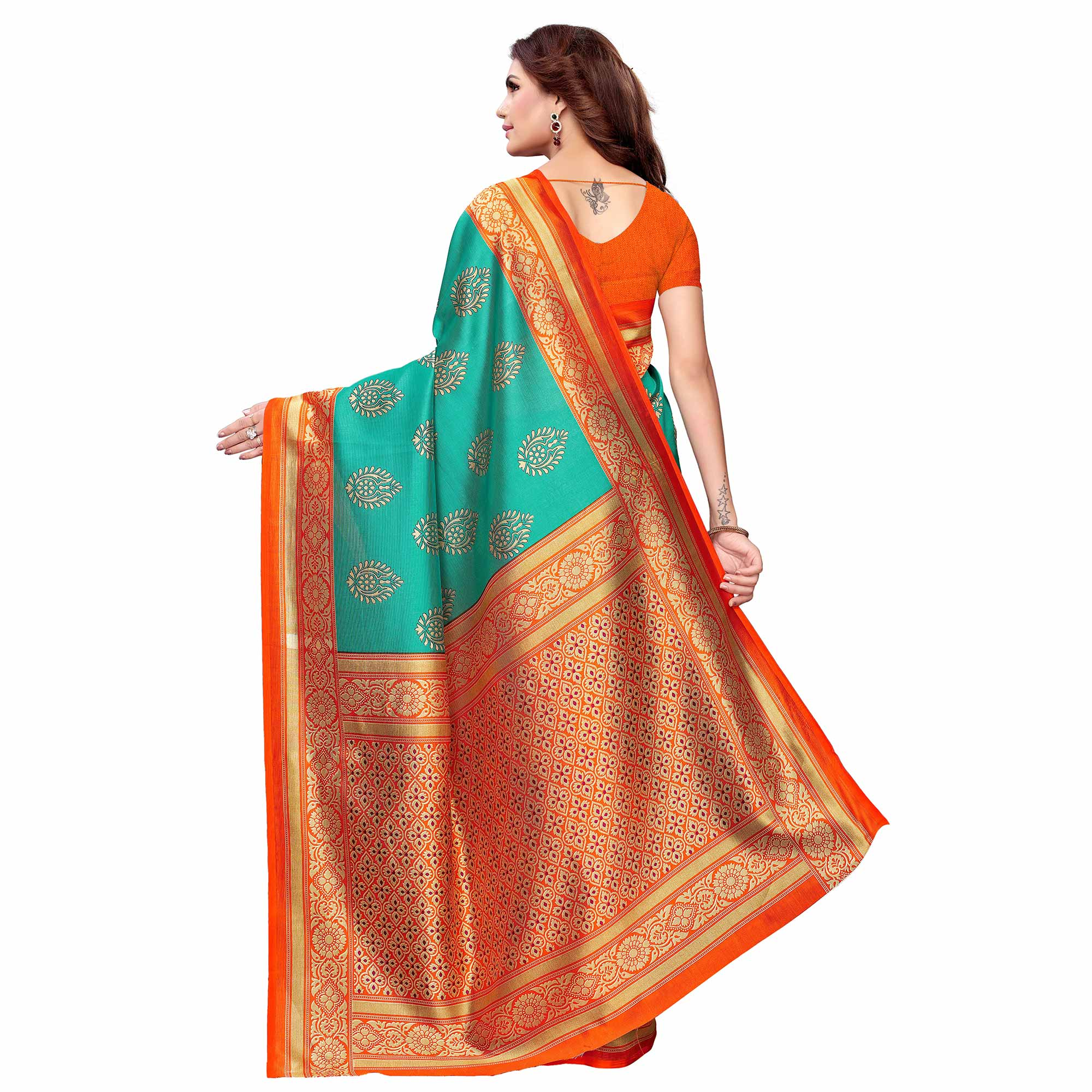 Fantastic Turquoise Green - Pink Colored Casual Wear Printed Art Silk Saree