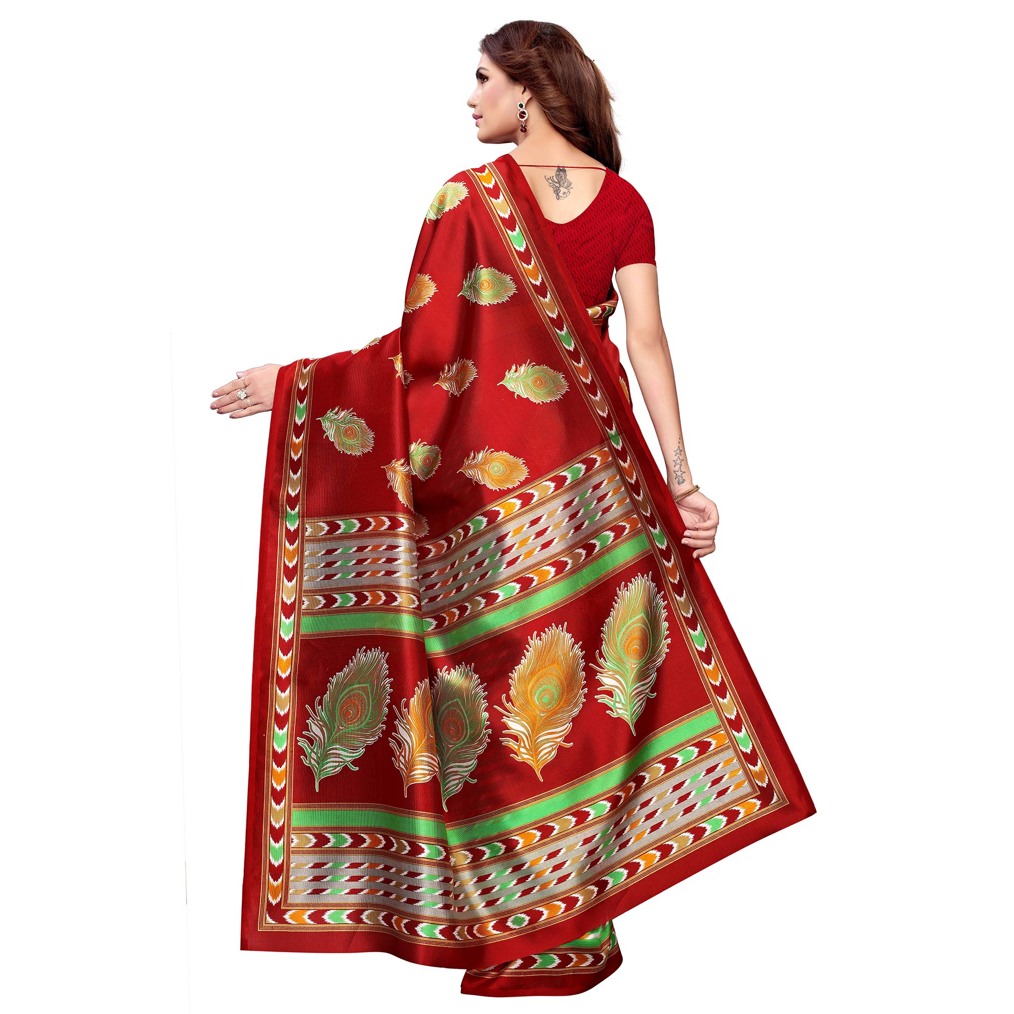 Amazing Maroon - Green Colored Casual Wear Printed Art Silk Saree
