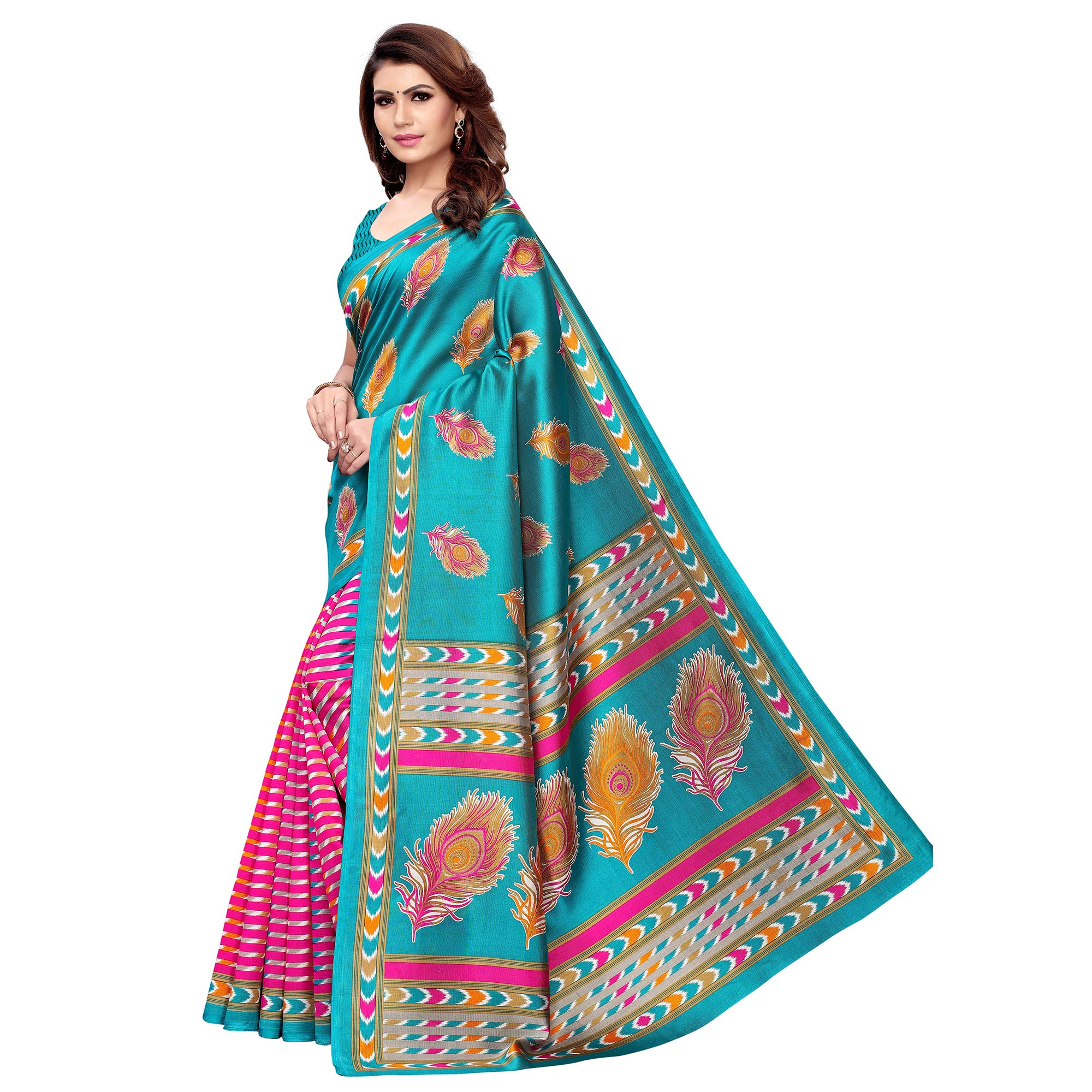 Gorgeous Rama Blue - Pink Colored Casual Wear Printed Art Silk Saree