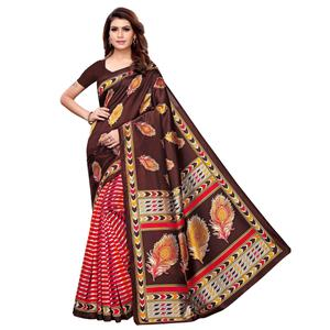 Blissful Brown - Red Colored Casual Wear Printed Art Silk Saree