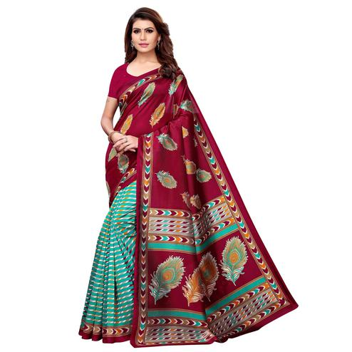 Ideal Dark Magenta Pink - Aqua Blue Colored Casual Wear Printed Art Silk Saree